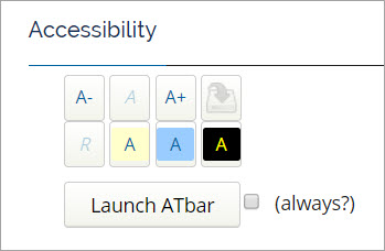 Image of the Accessibility Menu with buttons to expand or shrink the font, change the color contrast, and launch the ATBar.